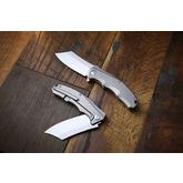 We Knife Company Apollo 1 Mid-Tech Flipper 3.5 inch S35VN Reverse Tanto Blade, Milled Titanium Handles