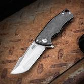 Michael Zieba Custom S1 Mini Flipper 2.5 inch M390 Compound Tanto Blade, Black Stonewashed Titanium Handles