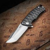 Michael Zieba Custom S1 Mini Flipper 2.5 inch M390 Compound Tanto Blade, Black Stonewashed Textured Titanium Handles