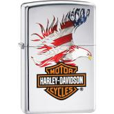 Zippo Harley-Davidson Flag Eagle, High Polish Chrome Classic