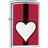 Zippo Lighter Satin Chrome, Heart Design