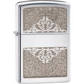 Zippo Filigree Initial, High Polish Chrome Classic