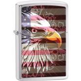 Zippo Eagle Flag, Brushed Chrome Classic