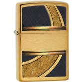 Zippo Gold And Black, Brushed Brass Classic