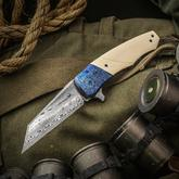Zscherny Hand Made Knives Custom Eagle Flipper 3.625 inch Hallapella Damasteel Blade, Westinghouse Ivory Micarta Handles with Timascus Bolsters and Clip