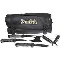 12 Survivors Knife Rollup Kit with Fixed Blade, Folding Knife, Hand Axe and Multi-Tool