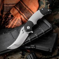 VDK Knives Pharaoh Mid-Tech Flipper 2.625 inch S35VN Polished Persian Blade, Titanium Handles with Dual Carbon Fiber Bolsters