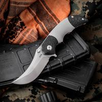 VDK Knives Pharaoh Mid-Tech Flipper 2.625 inch S35VN Satin Persian Blade, Titanium Handles with Dual Carbon Fiber Bolsters