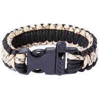 Maxam 9 inch Desert Camo and Black Paracord Bracelet, Whistle Buckle