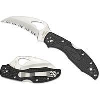 Spyderco Byrd Meadowlark Hawkbill Folding Knife 2-7/8 inch Serrated Blade, Black FRN Handles