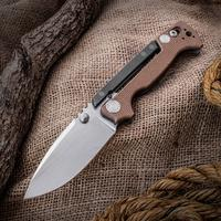 Andrew Demko Custom AD15 Folding Knife 3.75 inch CPM-20CV Satin Blade, Textured Coyote Brown G10 and Titanium Handles