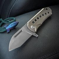 Elite Outfitting Solutions EOS Orca-S Flipper 3 inch S35VN Bead Blasted Blade, Satin Milled Titanium Handles, Copper Spacer