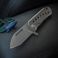 Elite Outfitting Solutions EOS Orca-S Flipper 3 inch S35VN Bead Blasted Blade, Milled Titanium Handles, Gold Clip