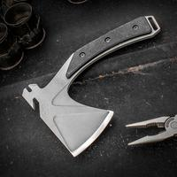 Elite Outfitting Solutions EOS Shorty Mini Hatchet 7.75 inch Overall, D2 Tool Steel, Black G10 Handles, Red and Black Kydex Sheath
