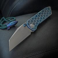 Elite Outfitting Solutions EOS Surgeon Folding Knife 3.625 inch S35VN Hand Rubbed Satin Blade, Blue Hexagon Milled Titanium Handles, Blue Fittings