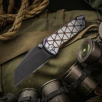 Elite Outfitting Solutions EOS Surgeon Folding Knife 3.625 inch S35VN Black Blade, Triangle Flame Milled Titanium Handles