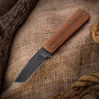 Anthony Griffin Custom Tanto Slipjoint Folding Knife 3.125 inch Acid Washed 154CM Blade, Natural Canvas Micarta Handles