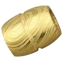 Grindworx Damascus Steel Bisect Single Groove Bead, Gold Plated