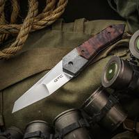 Gustavo GTC Cecchini Custom Airborne SLT Flipper 3.875 inch CPM-154 Hand Rubbed Satin Blade, Aroeira Wood Handles with Damasteel Bolsters, Zircuti Clip