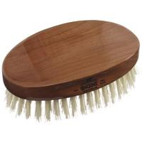 Kent Brushes MC4 Oval Cherry Wood, Travel Size, Pure White Bristle Brush