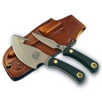 Knives of Alaska Light Hunter/Cub Bear Combo Set, Black Santoprene SureGrip Handles, Brown Leather Sheath