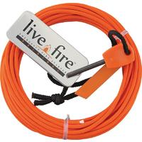 Live Fire Gear Ring O Fire, Live Fire Emergency Fire Starter, Safety Orange 550 FireCord Paracord, 25 Feet