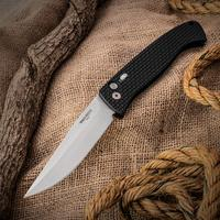 Protech Brend Design AUTO #1 4.75 inch Satin Plain Edge Blade, Black Knurled Aluminum Handles with Safety