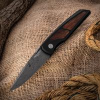 Protech 8806-D Harkins ATAC Double Action AUTO 3.35 inch Nichols Raindrop Damascus Blade, Aluminum Handle with Cocobolo Wood Inlays