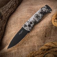 Protech Limited Edition TR-2.4H2 AUTO Folding Knife 3 inch Black 154CM Plain Blade, Four Horsemen Aluminum Handles with Skull Inlay