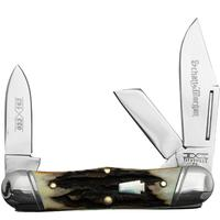 Schatt & Morgan 033163 Railsplitter Keystone Folding Knife, Burnt Stag Handles, 3.7 inch Closed