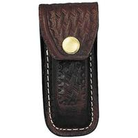 Brown Basketweave Leather Sheath, Fits Large Swiss Army Knives
