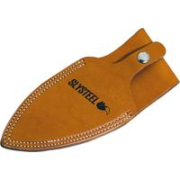 SLYSTEEL Knives Shark Tooth Hunter Natural Leather Sheath, Button Closure