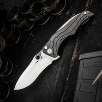 Brian Tighe Custom Zip Tighe Flipper 3.75 inch RWL-34 Hand Rubbed Satin Blade, Milled Carbon Fiber Handles