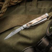 Tim Britton Knives Custom Doctor's Knife Traditional Folder BG-42 Clip Point Blade and Tongue Depressor, Chocolate Mother of Pearl Handles