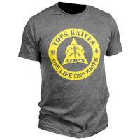 TOPS Knives One Life One Knife Logo T-Shirt, Charcoal Heather, Large