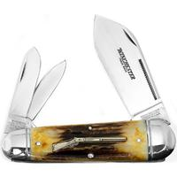 Winchester 4-1/2 inch Closed Rifle Series King Whittler Pocket Knife, Stag Handles