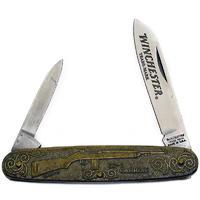 Winchester M1 Carbine Commemorative Pen Knife 3-1/2 inch Closed, Relief Bronze Handles