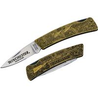 Winchester Model 1897 Commemorative Folding Knife 3 inch Blade, Relief Bronze Handles