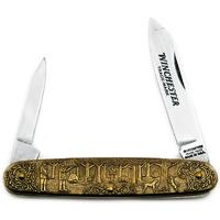 Winchester Model 62 Commemorative Pen Knife 3-1/2 inch Closed, Relief Bronze Handles