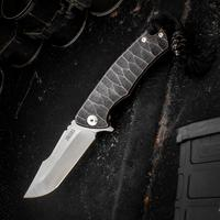 Michael Zieba Custom S1 Mini Flipper 2.5 inch M390 Compound Tanto Blade, Black Stonewashed Copper Anodized Textured Titanium Handles