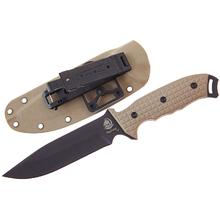 Anglesey Knives Rival Desert Tan Fixed 6 inch Black 440C Drop Point Blade, G10 Handle, Kydex Sheath