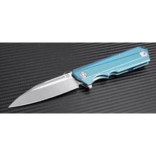 ArtisanCutlery Littoral 1703G-GN Flipper Knife 3.75 inch S35VN Stonewashed Blade, Green Anodized Titanium Handles