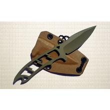 Attleboro Knives Dau Tranh Neck Knife Fixed 2.625 inch OD Green Cerakote CPM-20CV Plain Blade and Handle, Kydex Sheath
