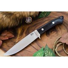 Bark River Knives Wilderness Explorer Fixed Blade Knife 5.775 inch CRU-WEAR Satin, Black Canvas Micarta Handles, Leather Sheath