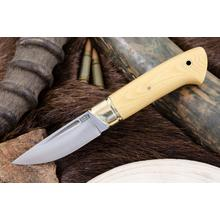 Bark River Knives Dan Tope Brokk Fixed 3.43 inch A2 Tool Steel Blade, Antique Ivory Micarta Handles, Leather Sheath