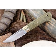 Bark River Knives Dan Tope Brokk Fixed 3.43 inch A2 Tool Steel Blade, Green Canvas Micarta Handles, Leather Sheath