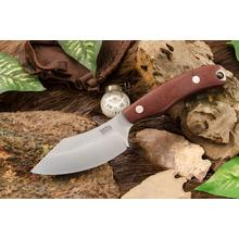 Bark River Knives JX6 Companion Fixed Blade Knife 3.675 inch CPM-154 Satin, Burgundy Canvas Micarta Handles, Leather Sheath