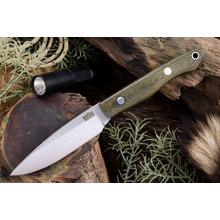 Bark River Knives Kalahari Thorn Fixed 3.75 inch CPM-154 Plain Blade, Green Canvas Micarta Handles, Leather Sheath