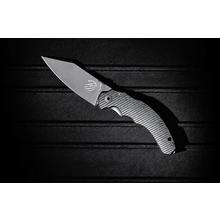 Bastinelli Creations Compact Dragotac Frame Lock 3.75 inch Black PVD Stonewashed Wharncliffe D2 Blade, Milled Black G10 Handle