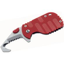 Boker Plus CLB Rescom Folding Rescue Hook Knife 1.875 inch Bead Blast Blade, Red FRN Handles